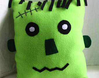 Halloween Frankenstein Fleece Pillow, decorative fall plush