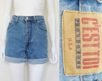 90s High Waist Jean Shorts - small