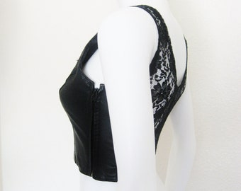 80's 90's Black Leather & Lace Cropped Bustier - xs