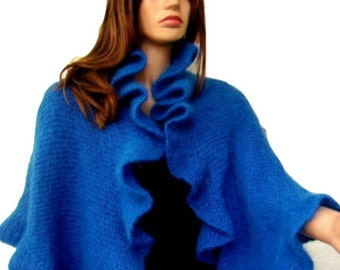Blue Mohair Bridal Wrap Three Sides Ruffle Shawl, Scarf, Handknit, Express Delivery