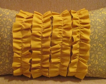 Gold and Flower Gray Print Four Ruffle Shabby Chic Pillow