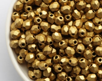 3mm Matte Metallic Atez Gold (50pcs) Czech Fire Polished Glass Beads Frosted Polish Faceted Round