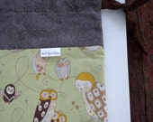 Expressive Owls drawstring bag with cotton fabric ties for knitting & craft projects (medium)