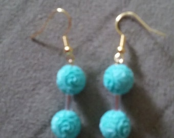 Blue Carved Floral Floating Earrings