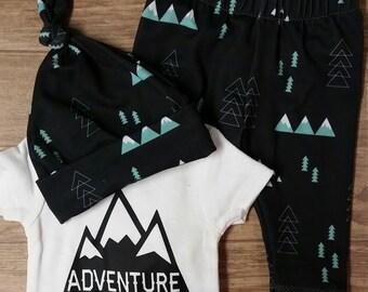Adventure Awaits Outfit. Onesie. Leggings.