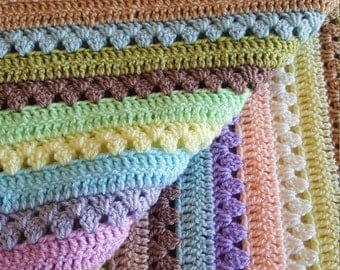 """Large Handmade crochet Snuggle Blanket, Cot  Bed Throw in Pastel colours 44"""" x 50"""""""