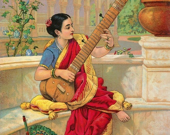 "Ravi Varma : ""Indian Woman Playing Sitar"" (1800s) - Giclee Fine Art Print"