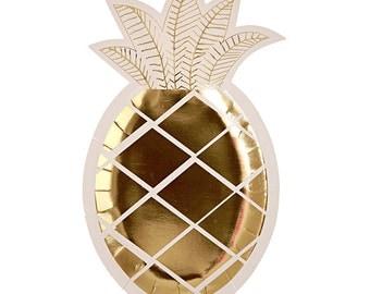 "SALE! Pineapple Paper Plates (Set of 8) - 10x6"" - Meri Meri Party Plates Metallic Gold Foil Party Plates"