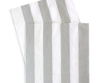 Silver Striped Dinner Napkins (Set of 20)