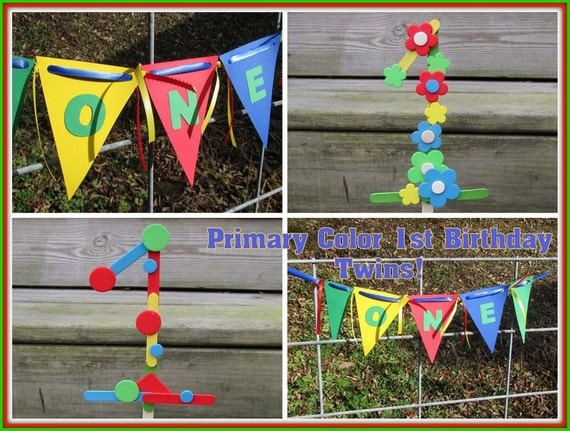 Primary Colors 1st Birthday Party Pack Twins 1st Birthday