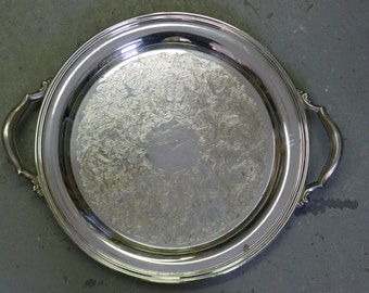 Large double handled round silver serving tray: Oneida