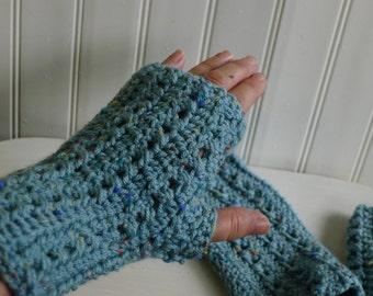 Pair of hand crocheted fingerless gloves  - aqua tweed