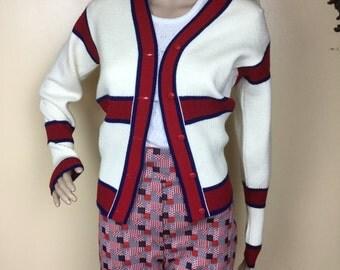 SALE vintage 60s tennis sweater preppy cardigan sweater
