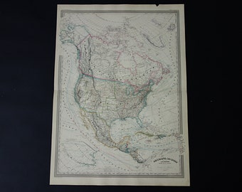 Usa Antique Map Large 1866 Beautiful Hand Colored Original Old Map Of North America Continent