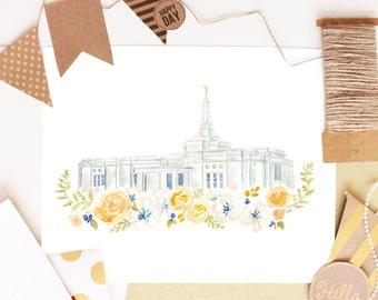 LDS Temple Watercolor (Memphis)