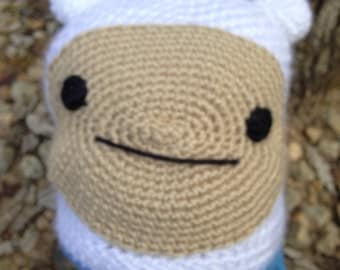Finn the Human adventure Time Inspired Beanie with earflaps and tassels