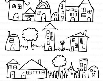 Digital Hand Drawn Houses Neighborhood Row Illustration Instant Download PNG