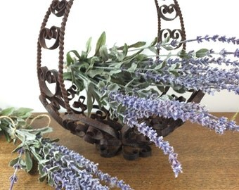 Wrought Iron Basket - Footed Fruit Basket -  Black Rusty Rustic Scroll Heart Design
