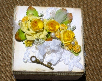 Altered Keepsake Wood Box Yellow Roses Vintage Laces and Pearls