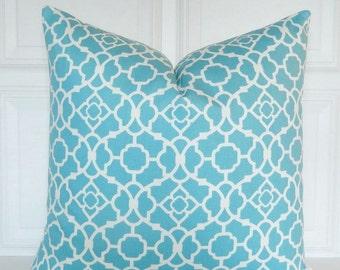 Turquoise Pillow Cover - Decorative Pillow - Lattice - Throw Pillow - Toss Pillow - 18x18, 20x20, 22x22 - Lumbar -  Turquoise Blue