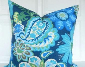 Kaufmann Pillow Cover - Blue Floral Pillow - Designer Pillow - Blue & Green Flowers - Throw Pillow - Both Sides - 18x18, 20x20, Lumbar