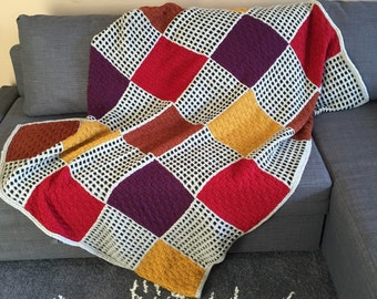 Knitted Basket weave throw, Granny Square Afghan, Checkerboard Blanket, Multicolor Basket Weave Throw