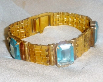 Vintage Dorsons Gold Filled Bracelet Tread Link & Large Cut Rectangular Turquoise Stones