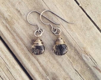 Rutilated Quartz Titanium Wrapped Teardrop Earrings