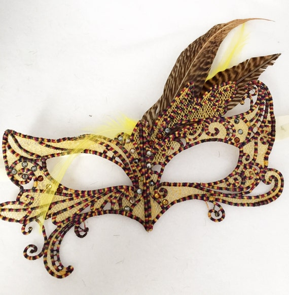 Pheasant Meadow Lark mask! Lace feather crystal mask masquerade ball dance prom holiday