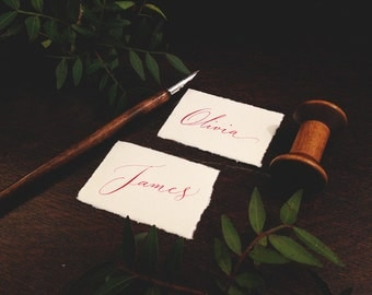 Rustic hand torn calligraphy place names
