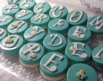 TIFFANY inspired Custom Name OREOS, Tiffany blue OREO cookies