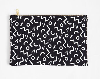 Shapes | Screenprint Clutch With Geometric Pattern In Black