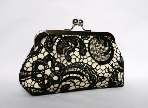 black lace clutch black and beige lace clutch bridal clutch. Black Bedroom Furniture Sets. Home Design Ideas