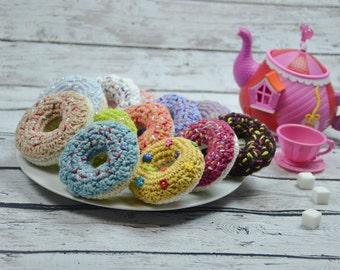 new crochet donut,play food,crochet pretend food,crochet pretend donuts,cotton donuts,girls crochet food,crochet sweets,many color donuts.