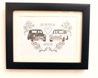 for the love of adventure, classic mini cooper car vintage/retro Print