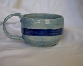 Mug in Sky (Light Blue) With Cobalt Stripe (Dark Blue)