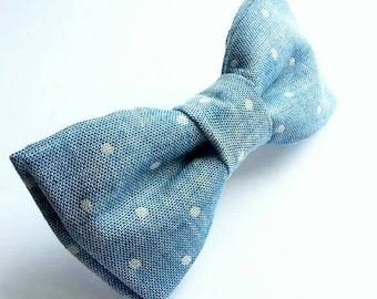 Denim bowtie. Polkadot bow tie. Cotton bow tie. Mens accessories. Wedding bow tie