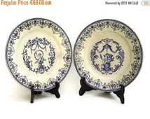 10% Off Antique French Angel Wall Plates by Vieillard Bordeaux. Moustiers Blue and White China Hanging Plate. French Blue Cherub Plate