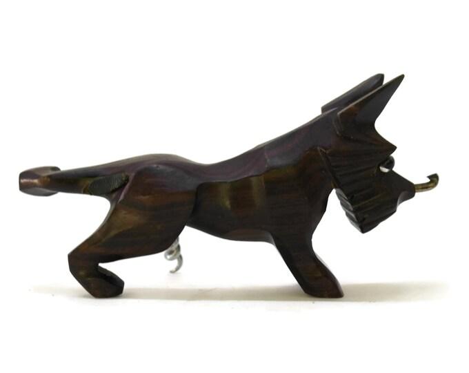 Vintage Black Forest Scottish Terrier Dog Corkscrew. Hand Carved Wooden Bottle Opener. Vintage Novelty Corkscrew. Peeing Scottie Dog