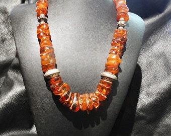 Antique Amber Necklace Baltic Cognac Large 155 Grams
