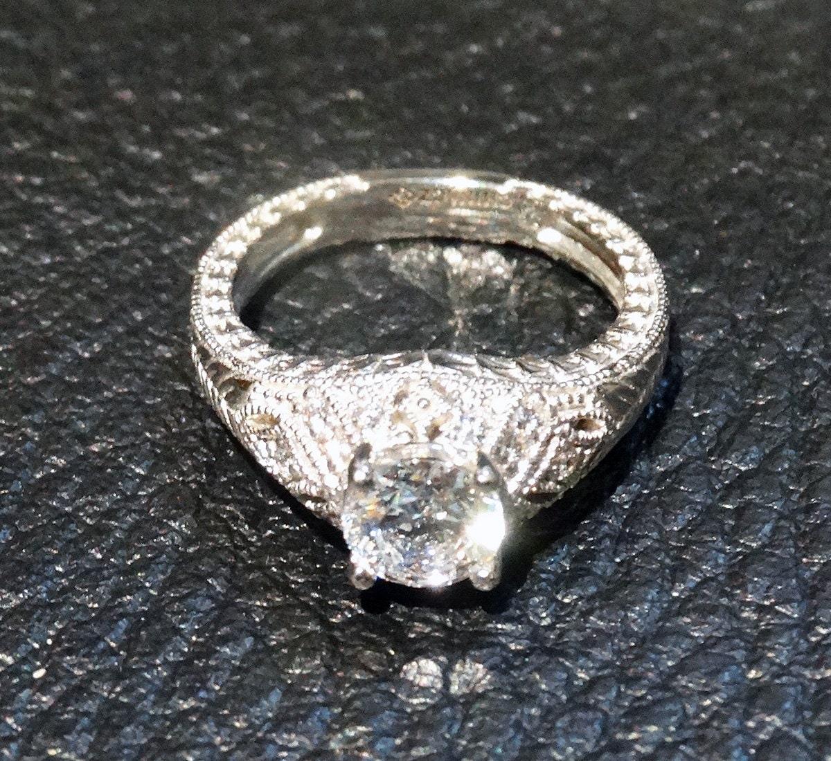 Engagement Ring 10K White Gold CZ by ElegantArtifacts on Etsy