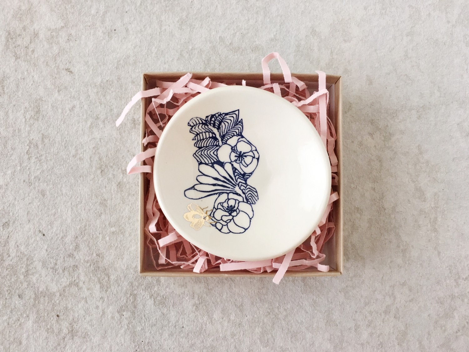 Blue Floral with Bee Ring Dish