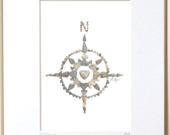 Compass heart rock print, compass wall art, nautical print, coastal print, coastal decor, heart rocks, beach house decor, cottage art