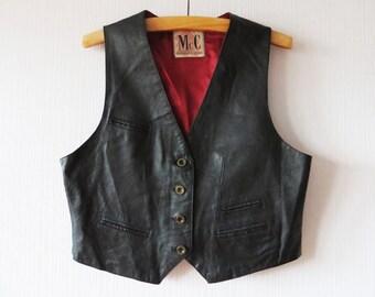 Vintage 90s Black Leather Vest Womens Steampunk Vest Genuine Leather Vest Cropped Waistcoat Biker Motorcycle Large Size Vest