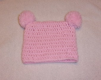 Crocheted Infant  pom-pom Hat ~ Fits 0 - 3 Mos. Pink ~ Ready to Ship Now