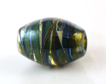 Deep Silver Teal and Gold Handmade Glass Lampwork Bead