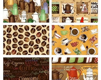 Daily Grind Coffee & Tea Cotton Fabric Quilting Treasures  By the Yard