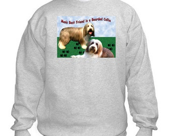 Bearded Collie Sweatshirt. Fleecy Lined Ribbed Cuffs and Neck, Choice of Sizes and colours