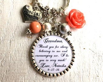 GRANDMA Gift Personalized Grandmother Gift Custom Wedding Party gift for Grandma Necklace Nana Keychain Birthday gift