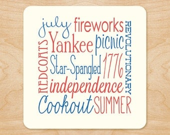 4th of July Holiday Coasters - 4th of July Party Ideas - Independence Day - Red, White, Blue